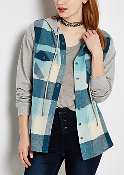 Turquoise Plaid Flannel Hooded Shirt