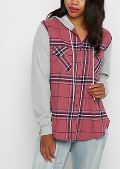 Pink Plaid Flannel Hooded Shirt