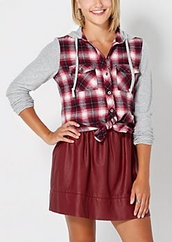 Burgundy Plaid Hooded Flannel