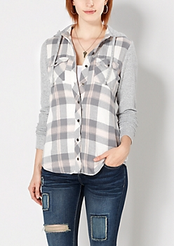 Gray & Pink Plaid Hooded Flannel