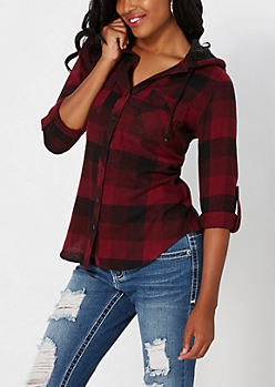Burgundy Buffalo Plaid Fleece Hooded Shirt