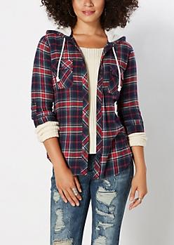 Red Plaid Fleece Hooded Shirt