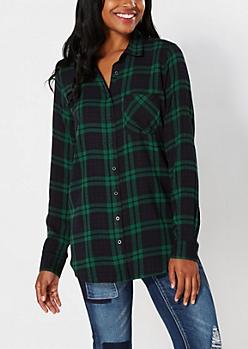 Sequined NY Tartan Plaid Shirt
