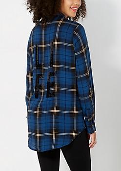 Sequined Life Tartan Plaid Shirt