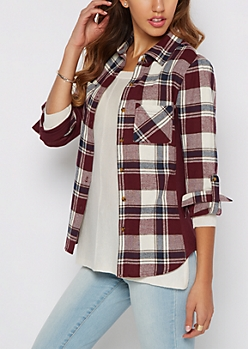 Burgundy Plaid Rib Knit Panel Shirt