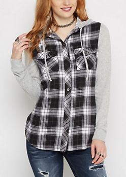 Black Knit Hooded Plaid Shirt