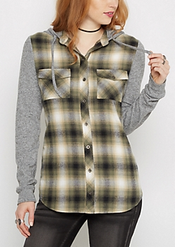 Olive Knit Hooded Plaid Shirt