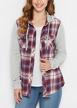 Burgundy Knit Hooded Plaid Shirt