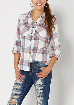 White Washed Plaid Button Down