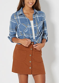 Blue Washed Plaid Button Down