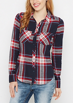 Navy Plaid Soft Woven Button Down