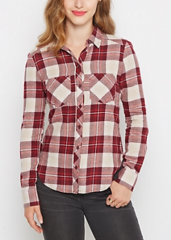 Burgundy Plaid Soft Woven Button Down