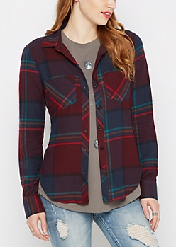 Mixed Plaid Soft Woven Button Down