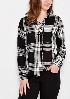 Black Tartan Plaid Lace-Up Shirt
