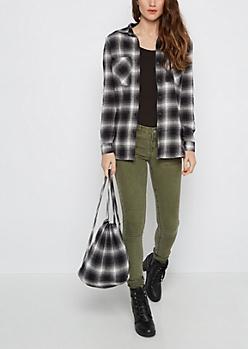 Black Plaid Flannel Shirt & Backpack