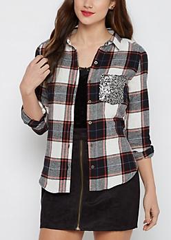 Black Sequined Pocket Plaid Flannel Shirt