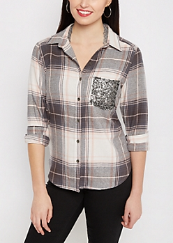 Pink Sequined Pocket Plaid Flannel Shirt