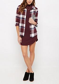 Burgundy Sequined Pocket Plaid Flannel Shirt