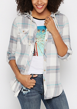 Gray Plaid Hooded Button Down