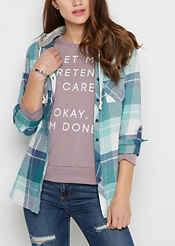 Teal Plaid Hooded Button Down