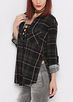 Olive Plaid Soft Woven Flannel Shirt