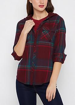 Burgundy Mock Sherpa Hooded Plaid Shirt