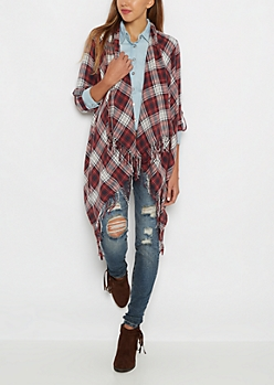 Washed Plaid Fringed Wrap
