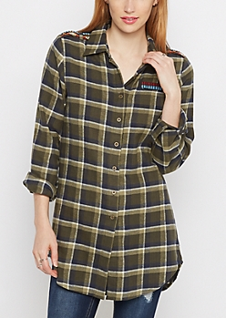 Aztec Military Plaid Tunic Shirt
