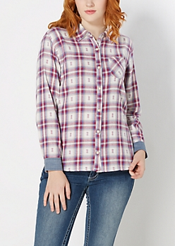 Chambray Cuff Plaid Shirt by Wild Blue x Sadie Robertson™