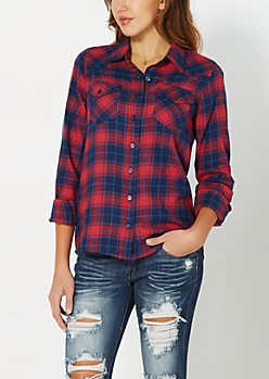 Red & Navy Tartan Plaid Button Down