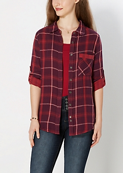 Eggplant Striped Lining Plaid Boyfriend Shirt