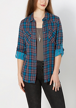 Turquoise Striped Lining Plaid Shirt