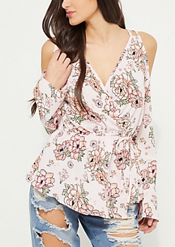 Pink Floral Cold Shoulder Wrap Top