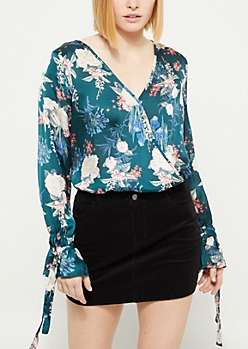 Surplice Tie Sleeve Teal Floral Blouse