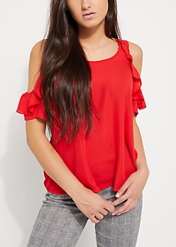 Red Ruffled Cold Shoulder Top
