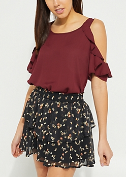 Burgundy Ruffled Cold Shoulder Top