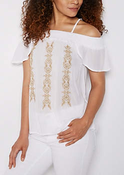 Golden Embroidered Cold Shoulder Shirt