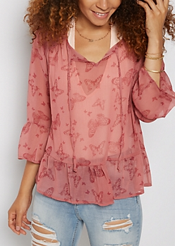 Pink Sheer Floral Blouse