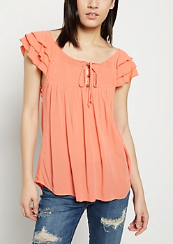 Orange Tiered Sleeve Top