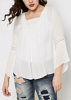 Ivory Medallion Crochet Peasant Top