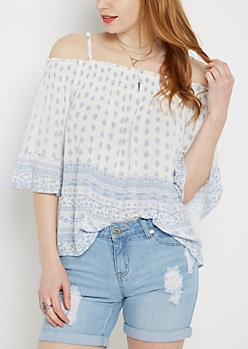 Ivory Folklore Smocked Cold Shoulder Top