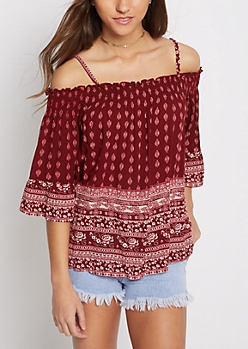 Burgundy Folklore Smocked Cold Shoulder Top