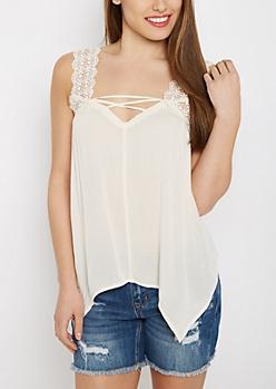 Cream Crochet Lace-Up Tank Top