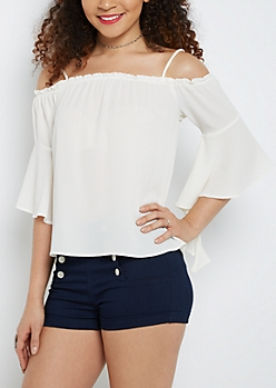 Crepe Off-Shoulder Bell Sleeve Top