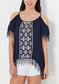 Tribal Crochet Fringe Cold Shoulder Top