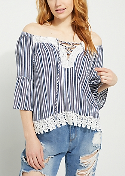 Blue Striped Off-The-Shoulder Crochet Top
