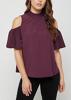 Purple Smocked Cold Shoulder Shirt