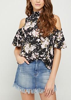 Black Floral Smocked Cold Shoulder Shirt