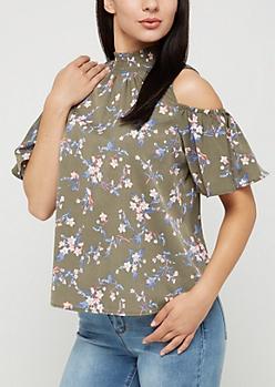 Olive Floral Smocked Cold Shoulder Shirt
