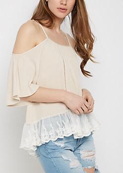 Fluttering Cold Shoulder Lace Shirt